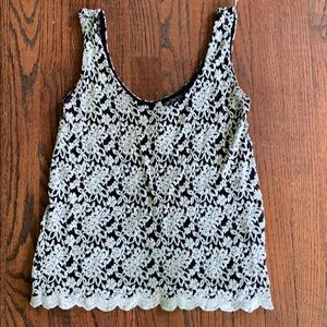Black and White Floral, Thick Lace Tank